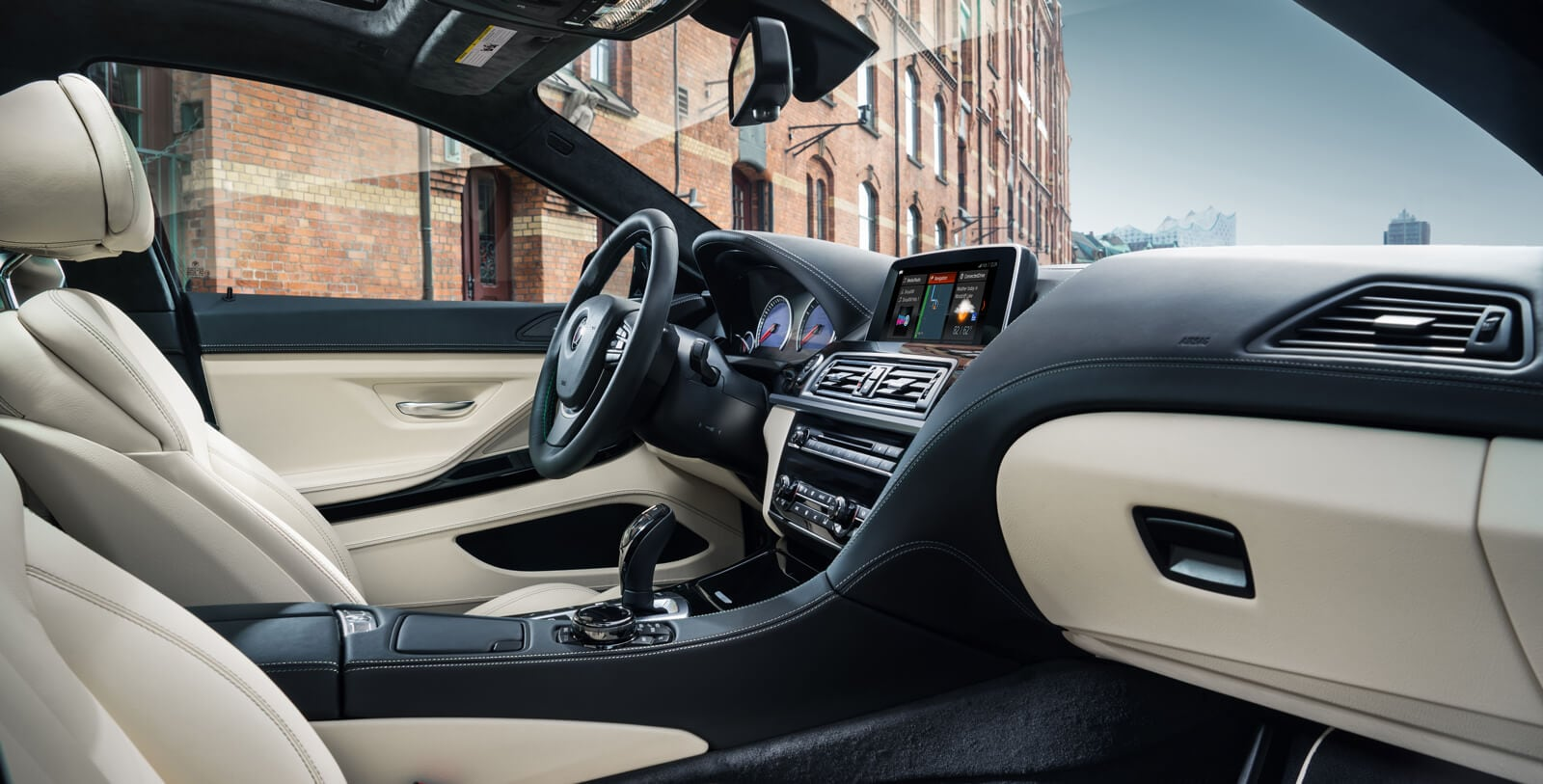 Interior of a 2019 BMW 6 Series showing leather upholstery