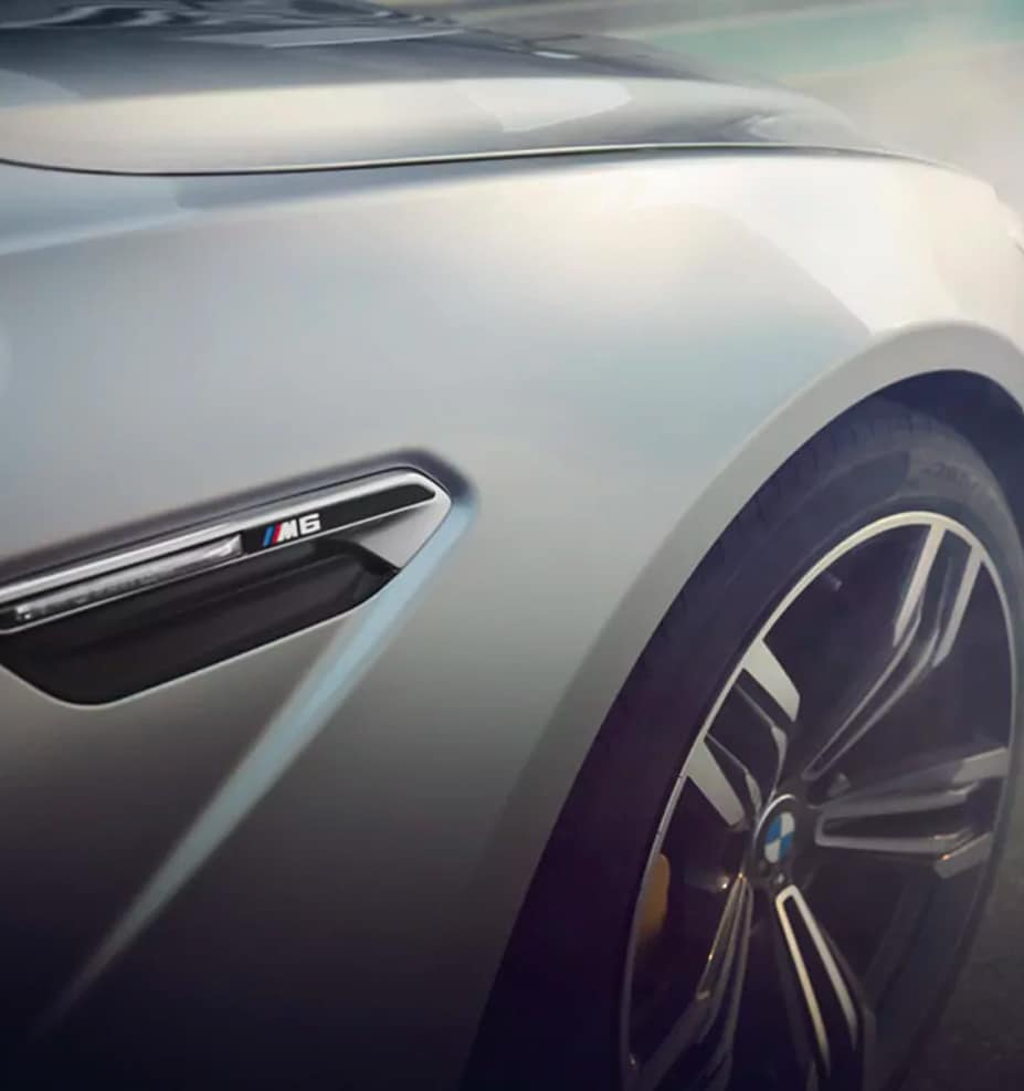Detail shot of the badging on the 2019 BMW M6 Gran Coupe