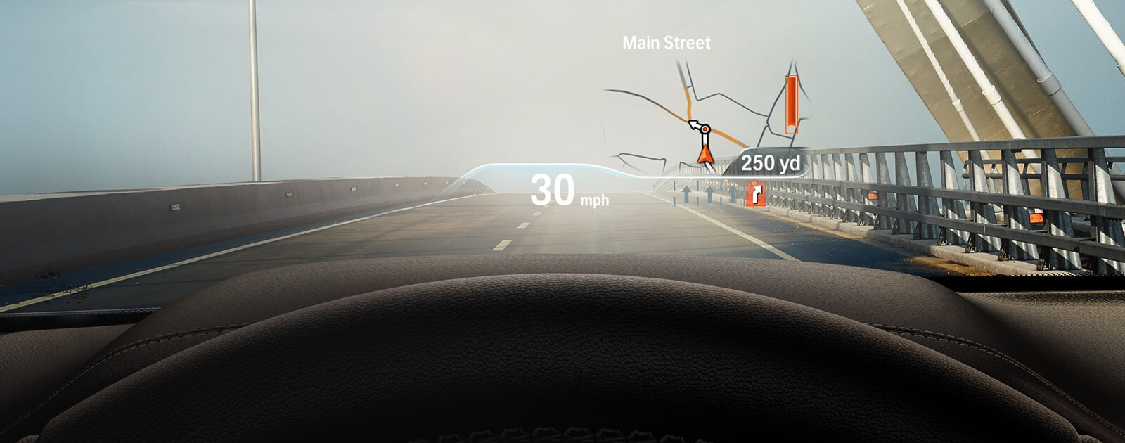 Driver's eye view of the Head-Up Display projecting speed and navigation information over the road ahead