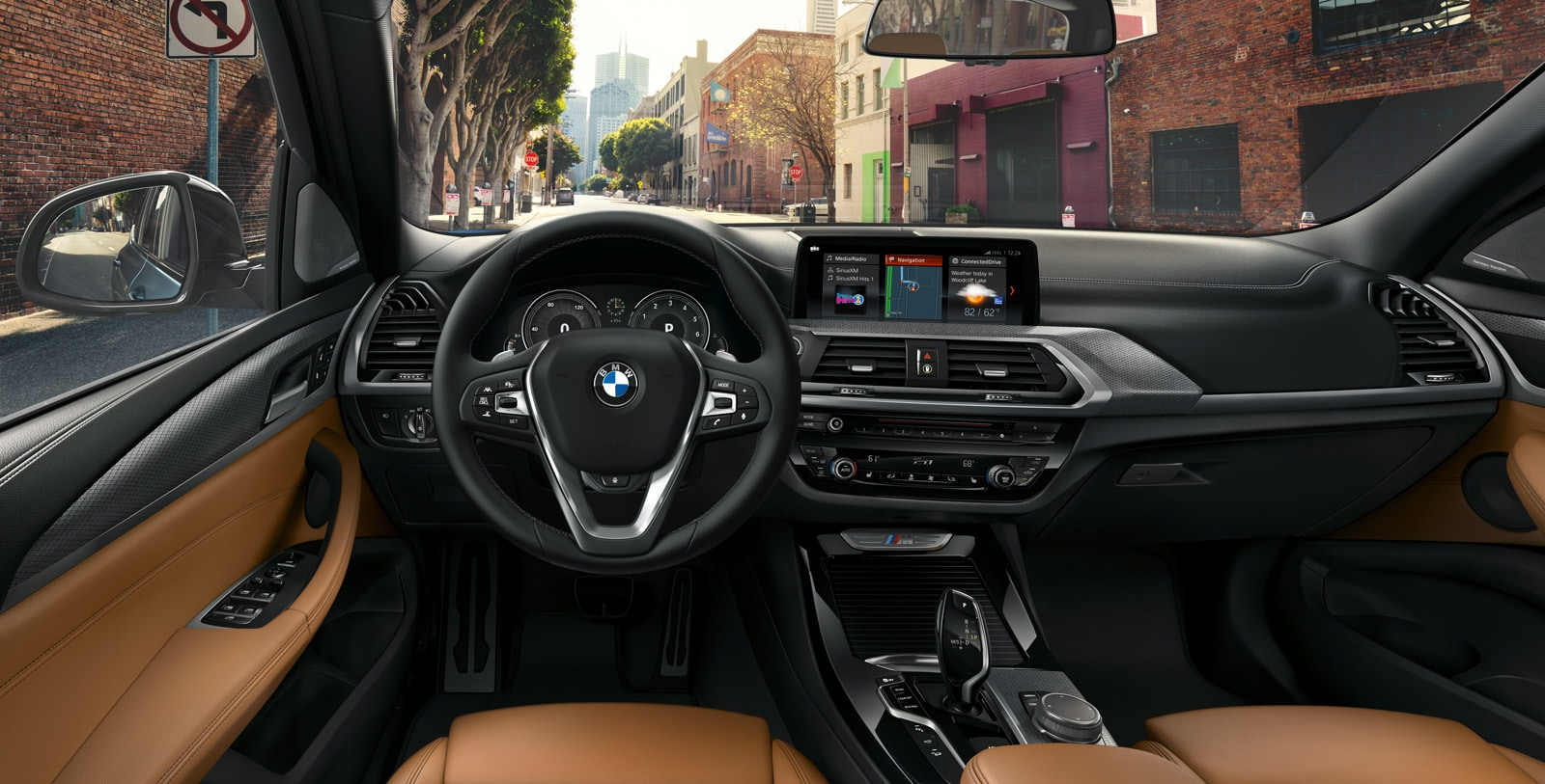Interior of a 2019 BMW X3 showing driver's point of view